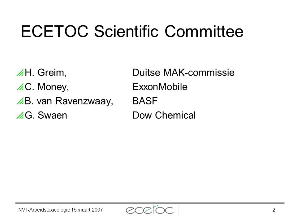 ECETOC Scientific Committee