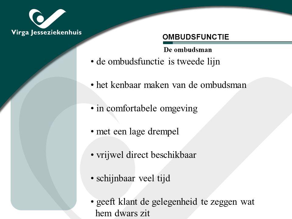 de ombudsfunctie is tweede lijn het kenbaar maken van de ombudsman