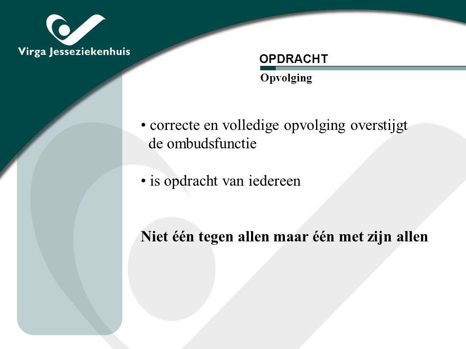 correcte en volledige opvolging overstijgt de ombudsfunctie