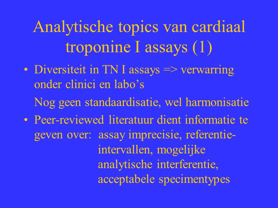 Analytische topics van cardiaal troponine I assays (1)