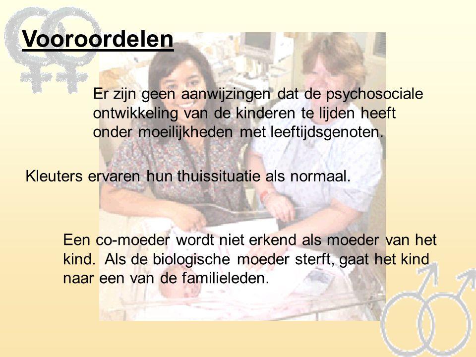 Vooroordelen Er zijn geen aanwijzingen dat de psychosociale ontwikkeling van de kinderen te lijden heeft onder moeilijkheden met leeftijdsgenoten.