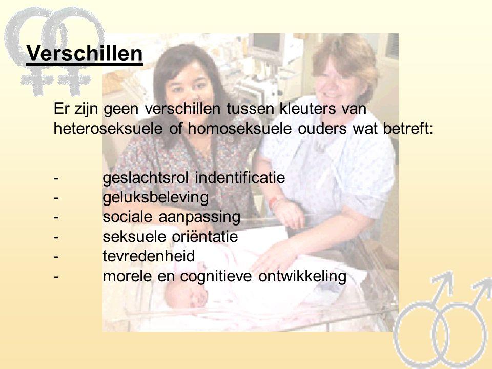 Verschillen Er zijn geen verschillen tussen kleuters van heteroseksuele of homoseksuele ouders wat betreft: