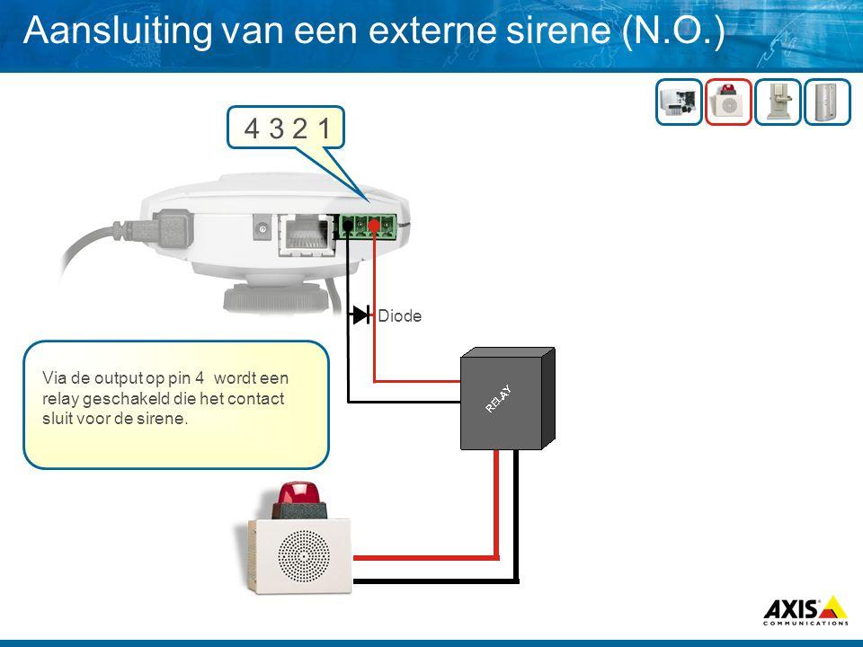 Aansluiting van een externe sirene (N.O.)