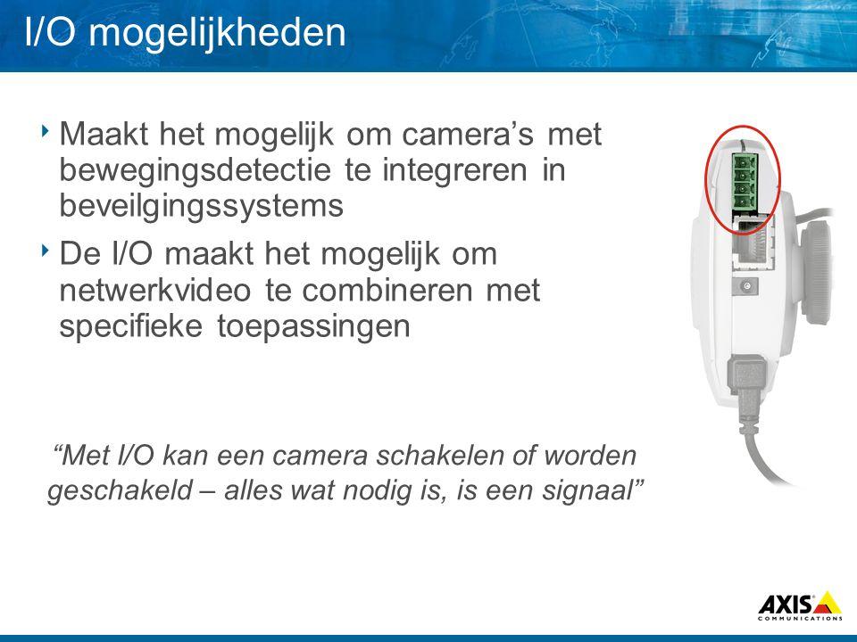 I/O mogelijkheden Maakt het mogelijk om camera's met bewegingsdetectie te integreren in beveilgingssystems.