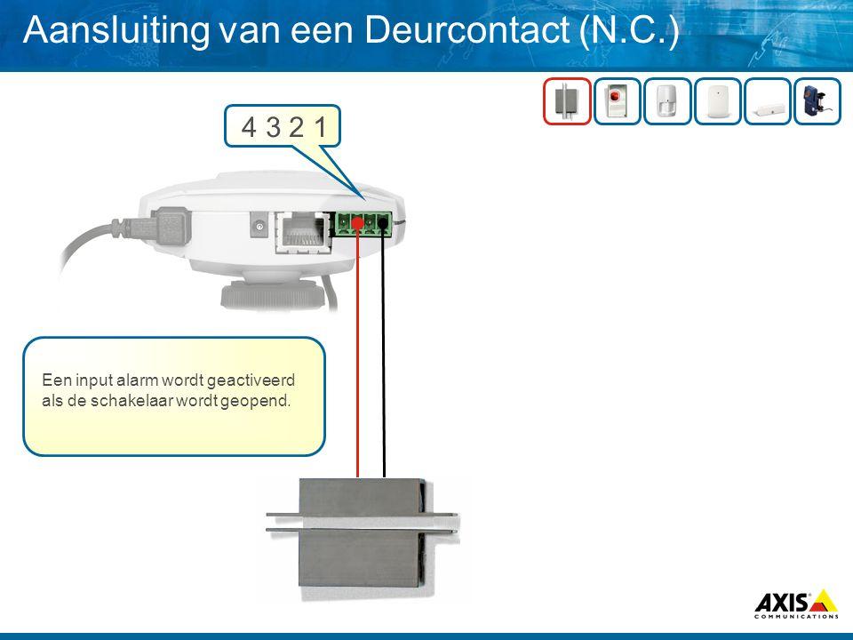 Aansluiting van een Deurcontact (N.C.)