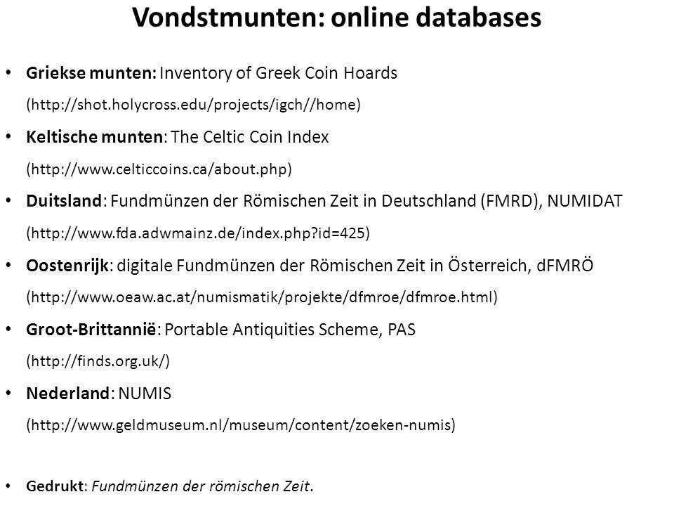 Vondstmunten: online databases