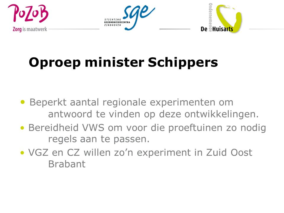 Oproep minister Schippers