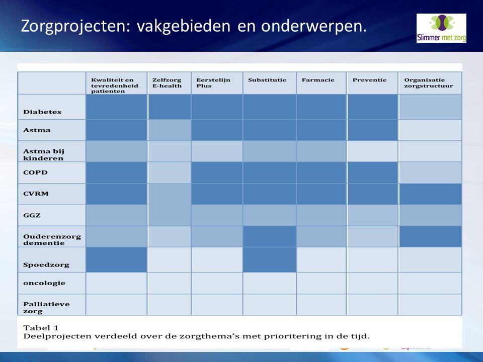 Zorgprojecten: vakgebieden en onderwerpen.