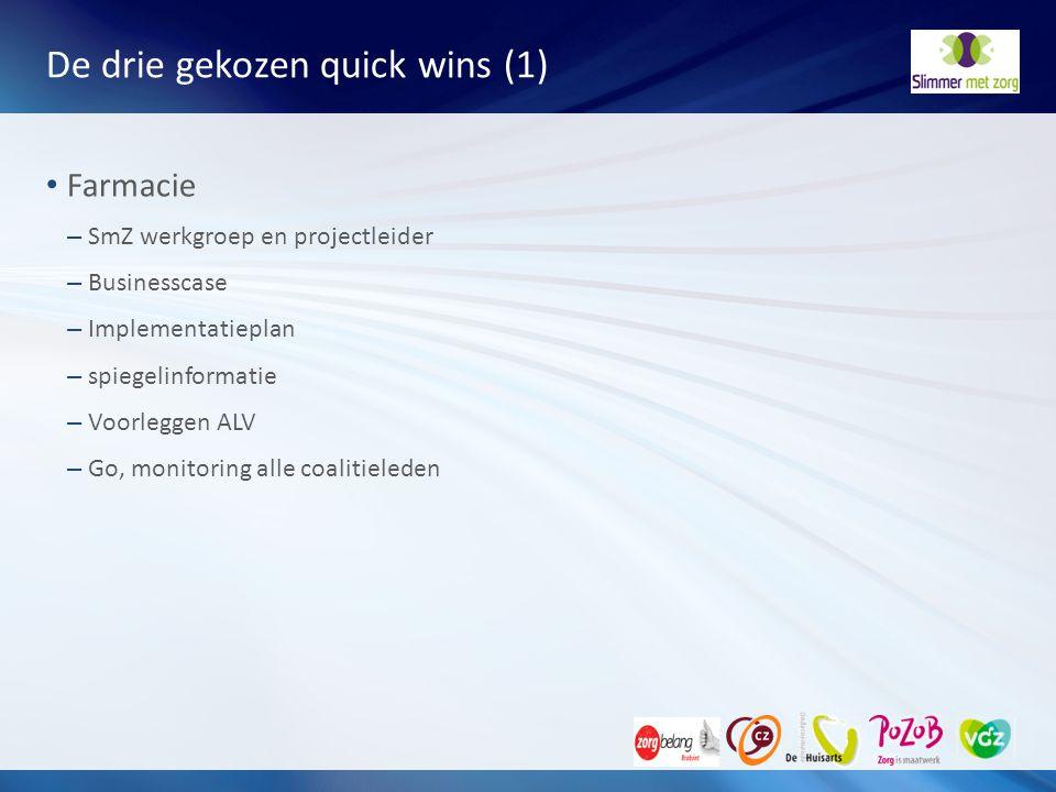 De drie gekozen quick wins (1)