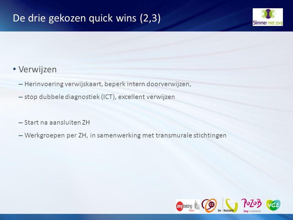 De drie gekozen quick wins (2,3)