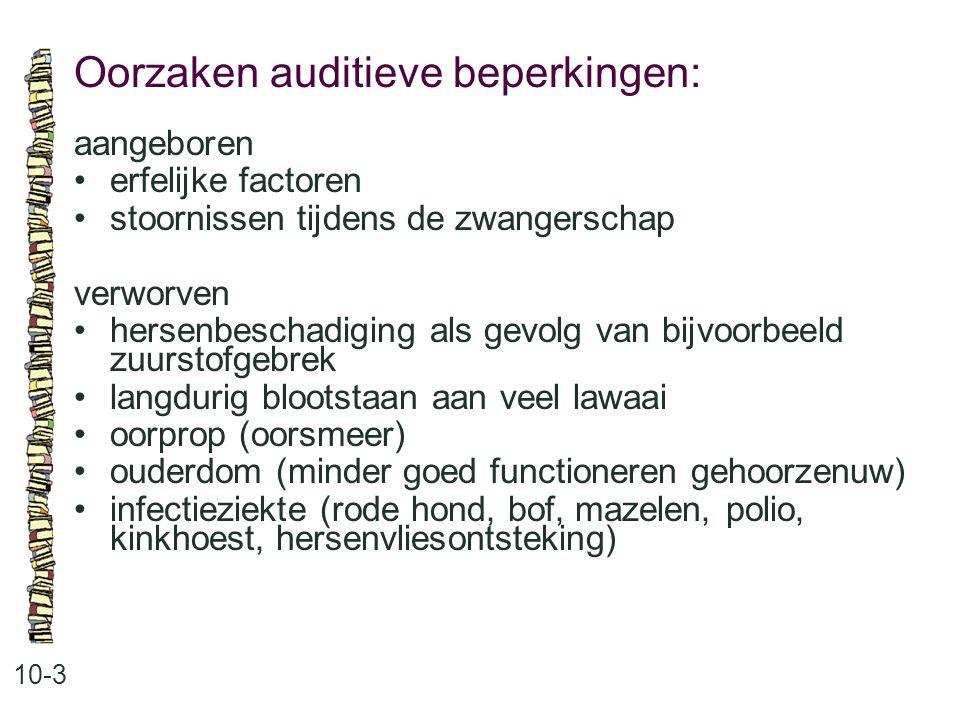 Oorzaken auditieve beperkingen: