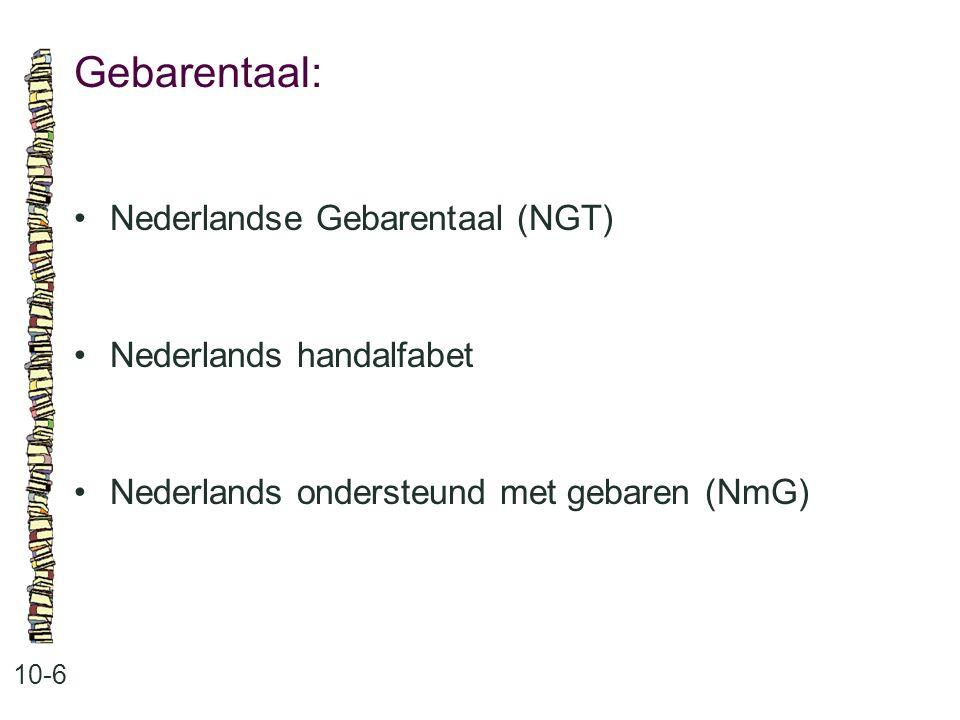Gebarentaal: • Nederlandse Gebarentaal (NGT) • Nederlands handalfabet