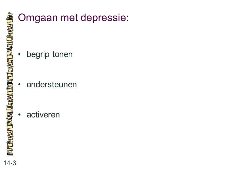 Omgaan met depressie: • begrip tonen • ondersteunen • activeren 14-3