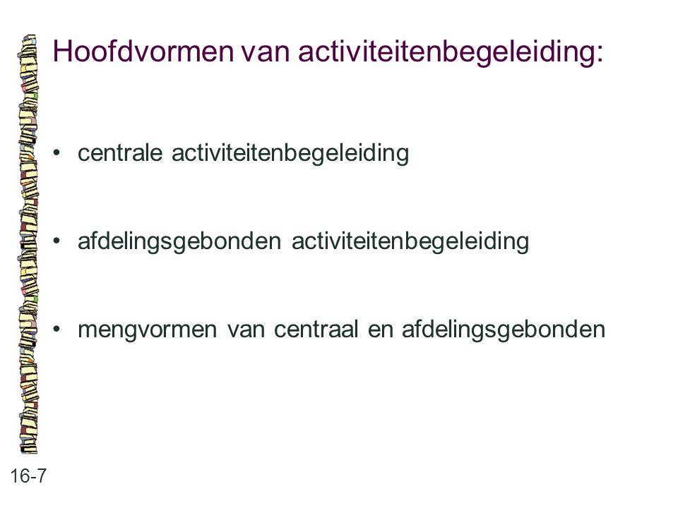 Hoofdvormen van activiteitenbegeleiding: