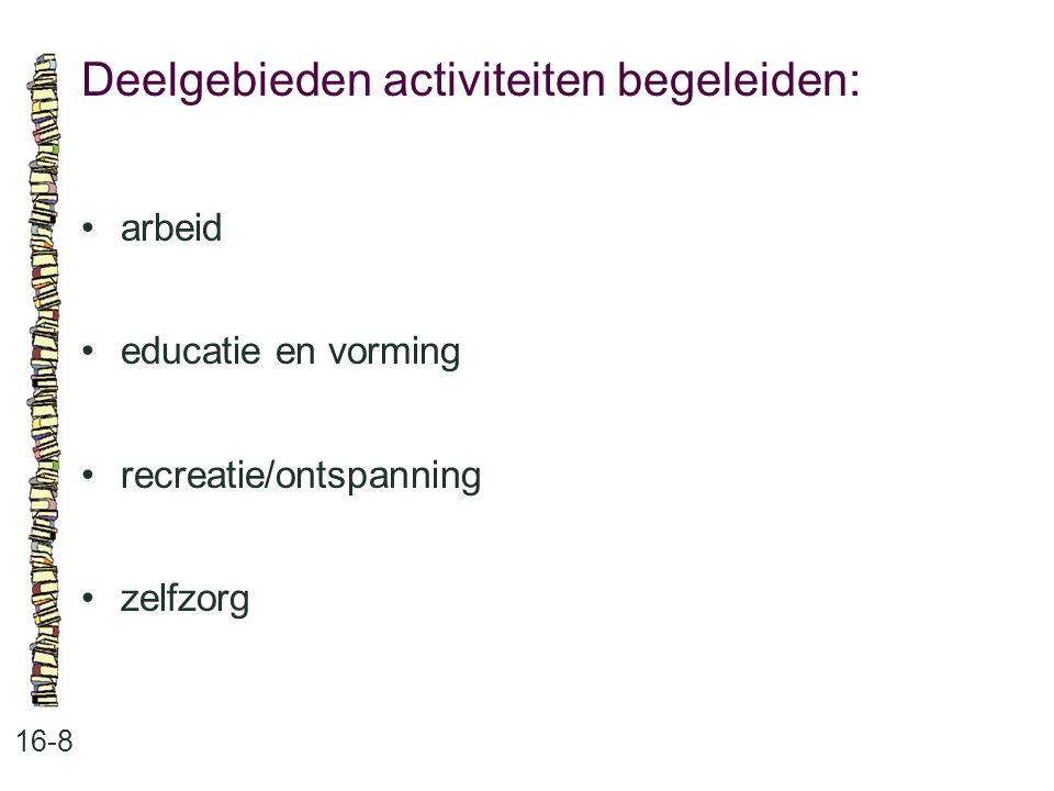 Deelgebieden activiteiten begeleiden: