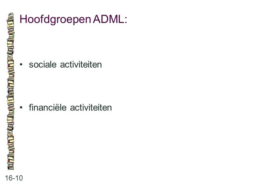 Hoofdgroepen ADML: • sociale activiteiten • financiële activiteiten