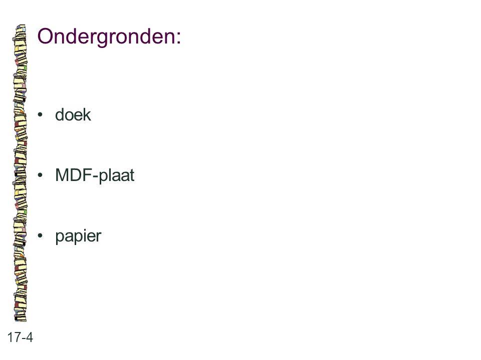 Ondergronden: • doek • MDF-plaat • papier 17-4