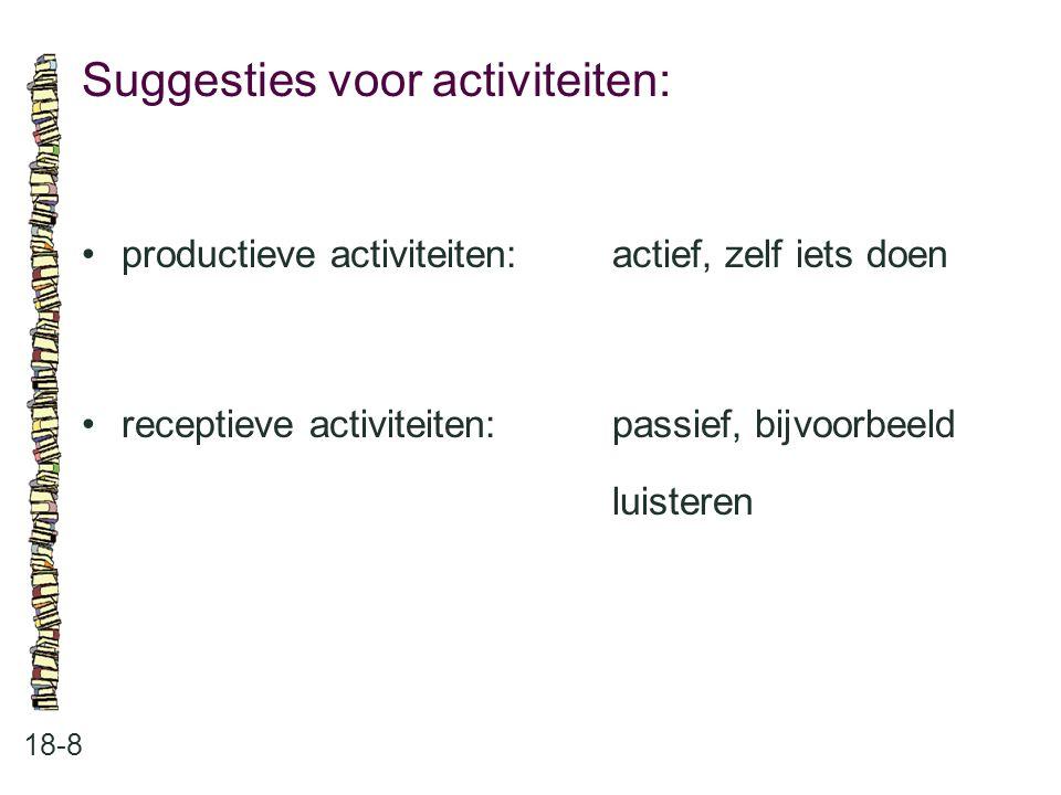 Suggesties voor activiteiten: