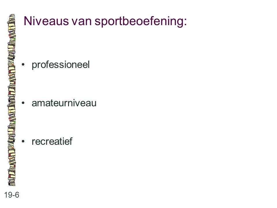 Niveaus van sportbeoefening: