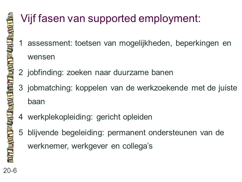Vijf fasen van supported employment:
