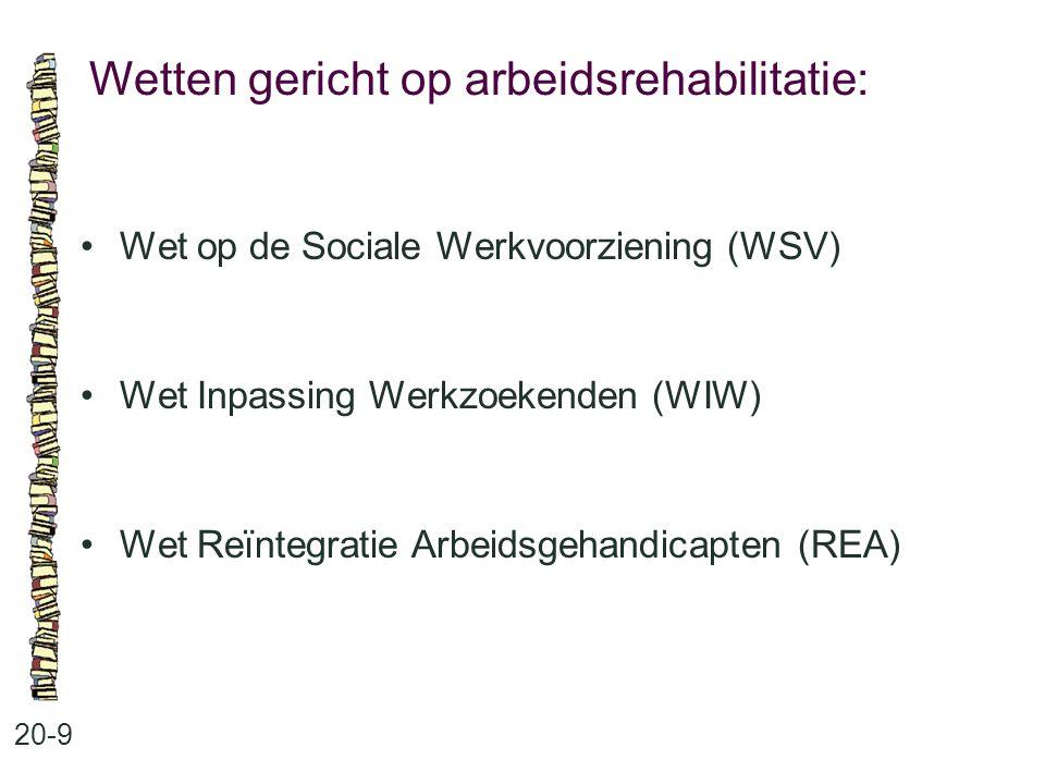 Wetten gericht op arbeidsrehabilitatie: