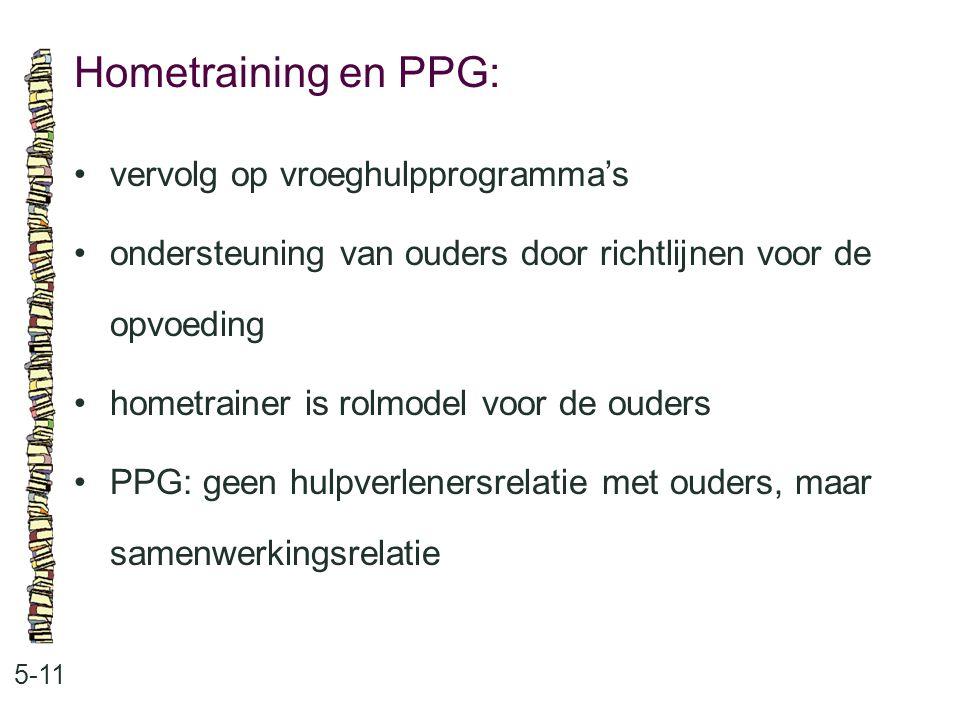Hometraining en PPG: • vervolg op vroeghulpprogramma's