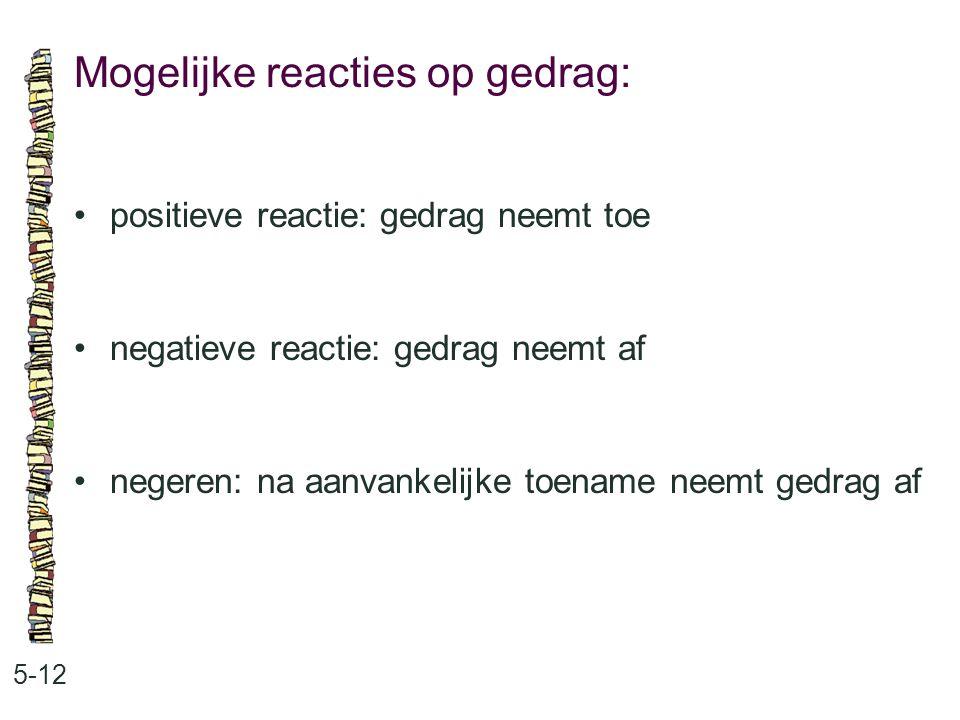 Mogelijke reacties op gedrag: