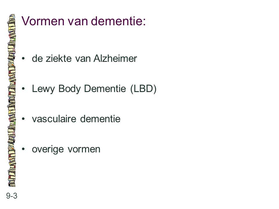 Vormen van dementie: • de ziekte van Alzheimer