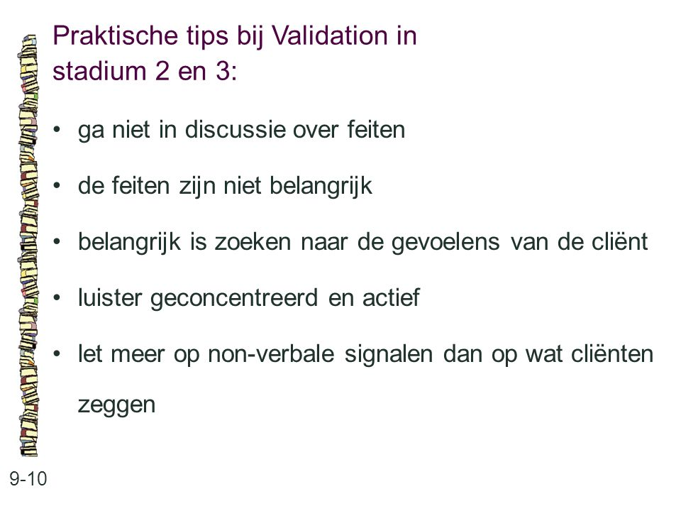 Praktische tips bij Validation in stadium 2 en 3: