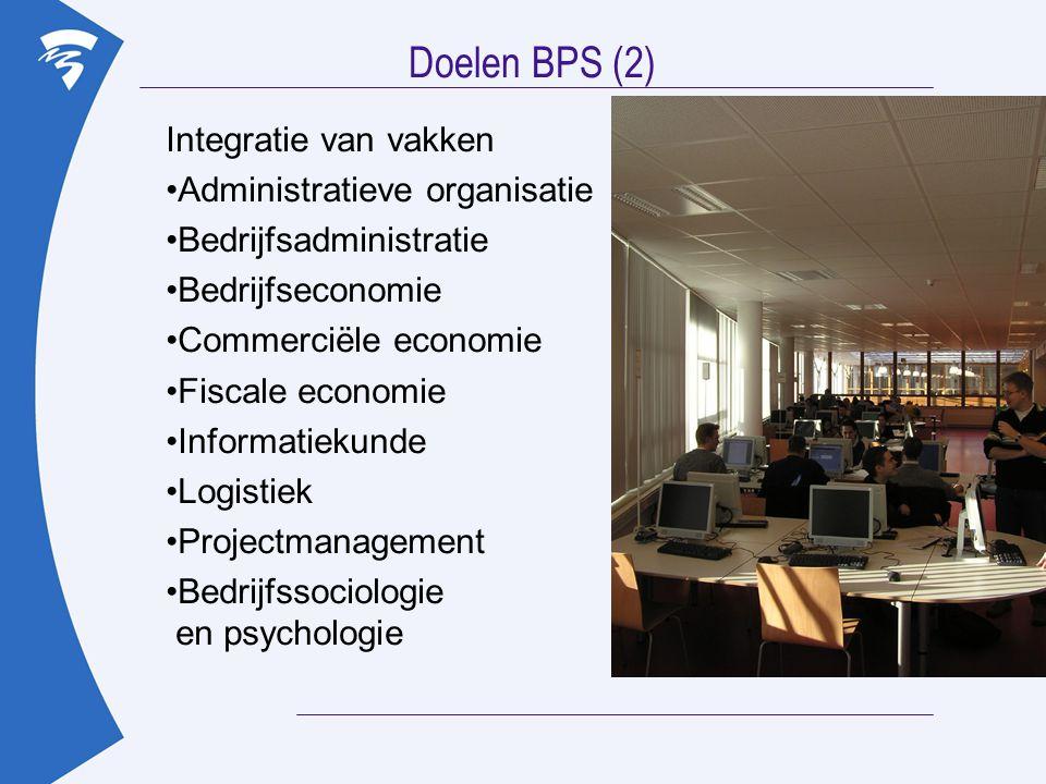 Doelen BPS (2) Integratie van vakken Administratieve organisatie