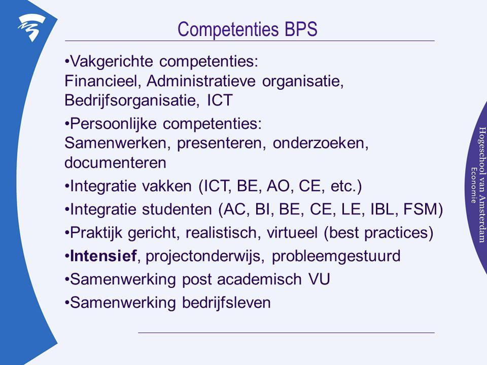 Competenties BPS Vakgerichte competenties: Financieel, Administratieve organisatie, Bedrijfsorganisatie, ICT.