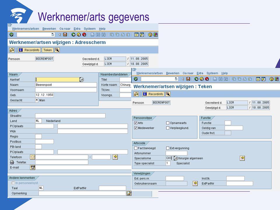 Werknemer/arts gegevens