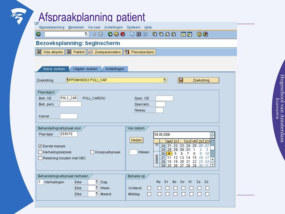 Afspraakplanning patient