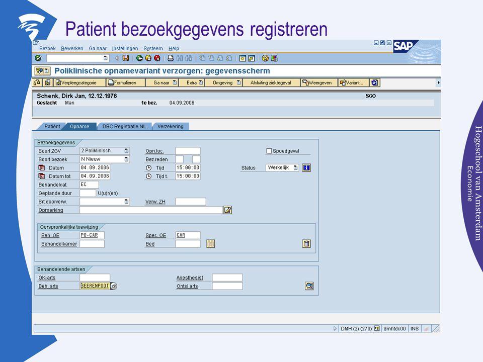 Patient bezoekgegevens registreren