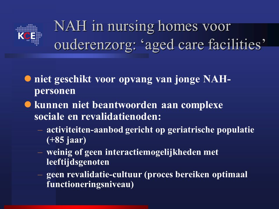 NAH in nursing homes voor ouderenzorg: 'aged care facilities'