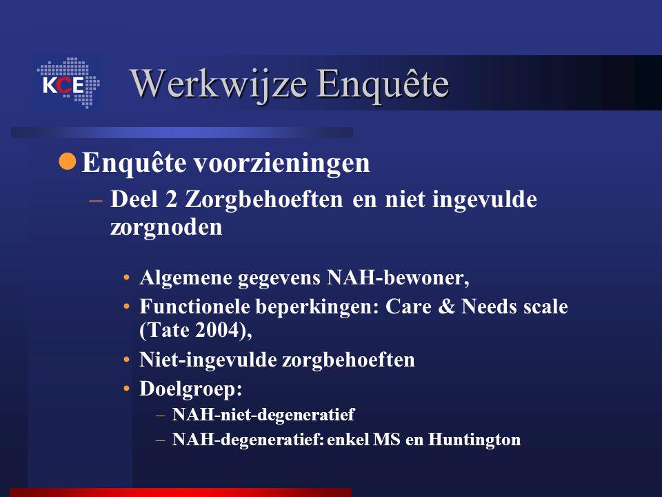 Werkwijze Enquête Enquête voorzieningen