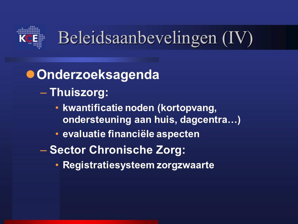 Beleidsaanbevelingen (IV)