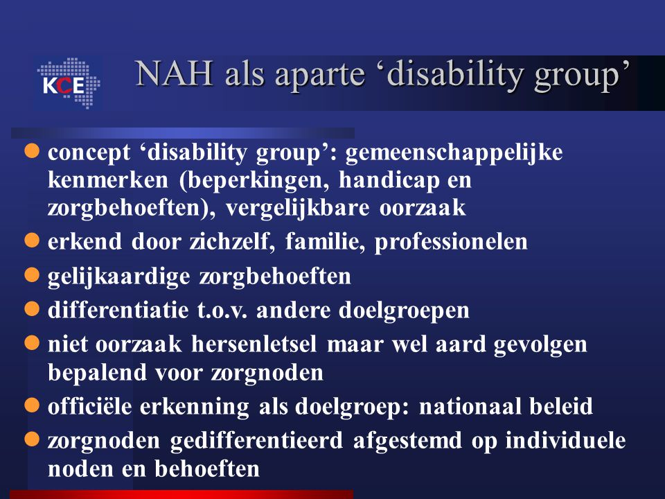 NAH als aparte 'disability group'