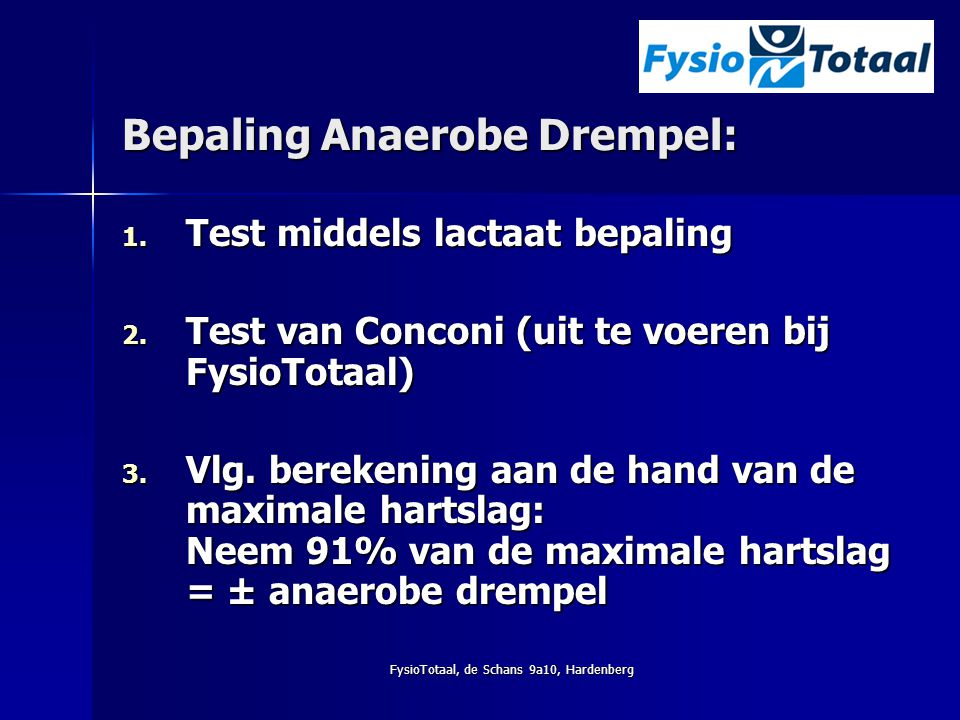 Bepaling Anaerobe Drempel: