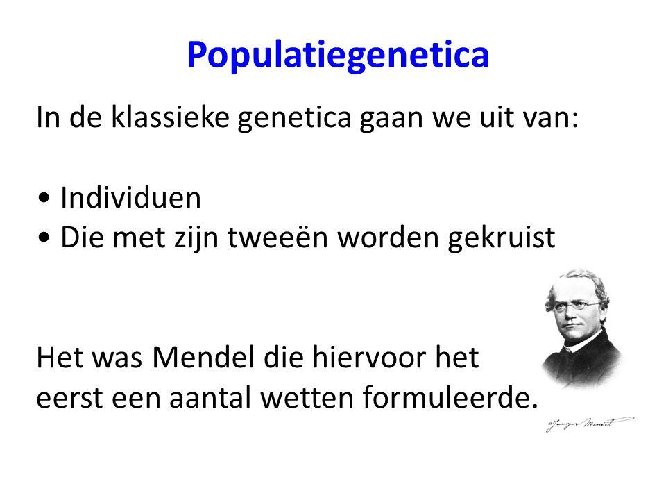 Populatiegenetica In de klassieke genetica gaan we uit van: Individuen