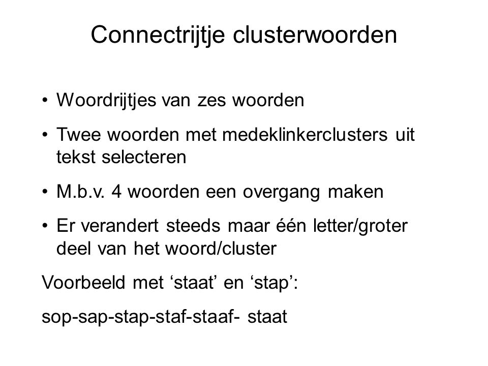 Connectrijtje clusterwoorden