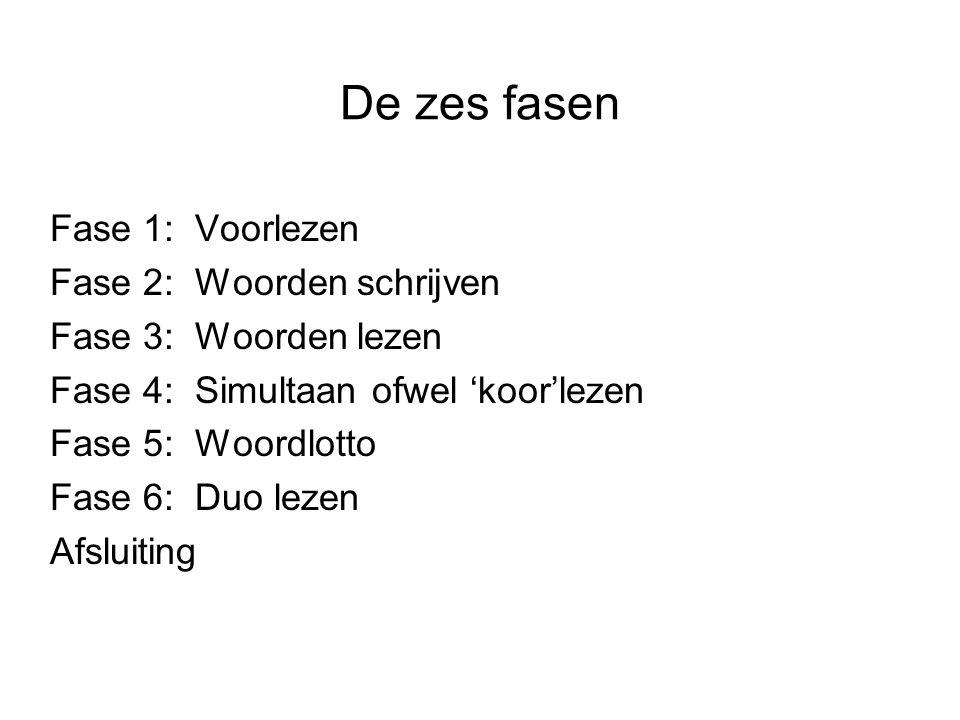 De zes fasen Fase 1: Voorlezen Fase 2: Woorden schrijven