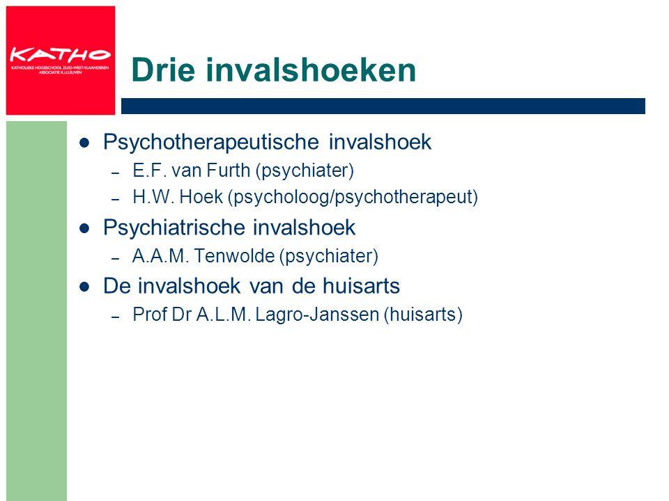 Drie invalshoeken Psychotherapeutische invalshoek