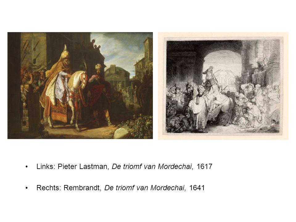 Links: Pieter Lastman, De triomf van Mordechai, 1617