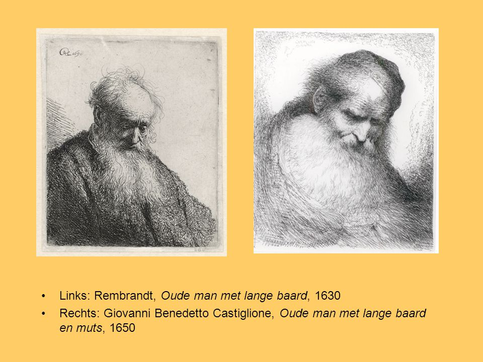 Links: Rembrandt, Oude man met lange baard, 1630