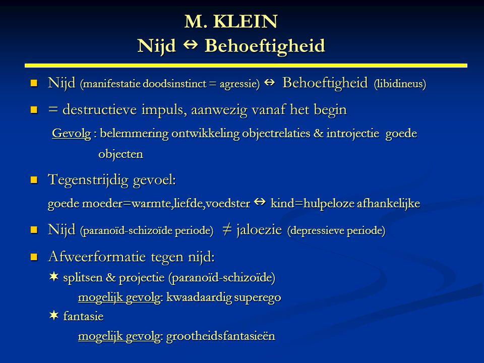 M. KLEIN Nijd  Behoeftigheid