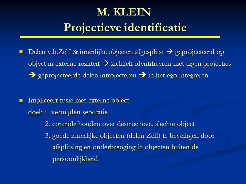 M. KLEIN Projectieve identificatie