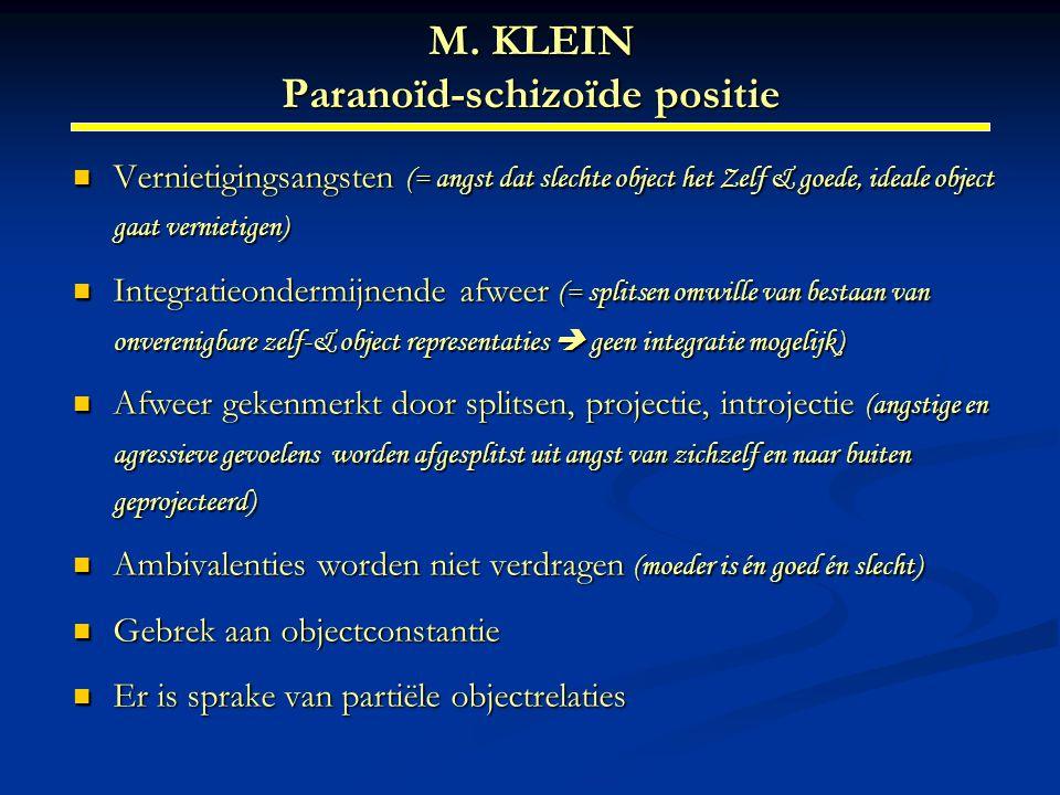 M. KLEIN Paranoïd-schizoïde positie