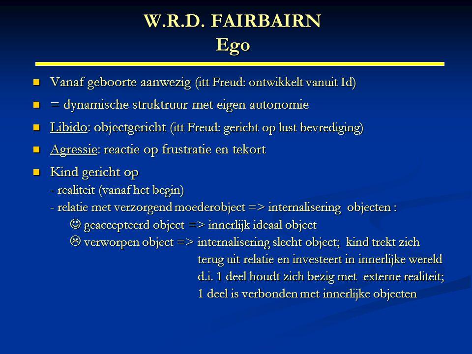 W.R.D. FAIRBAIRN Ego Vanaf geboorte aanwezig (itt Freud: ontwikkelt vanuit Id) = dynamische struktruur met eigen autonomie.