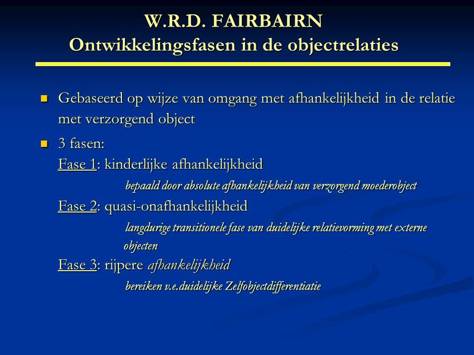 W.R.D. FAIRBAIRN Ontwikkelingsfasen in de objectrelaties